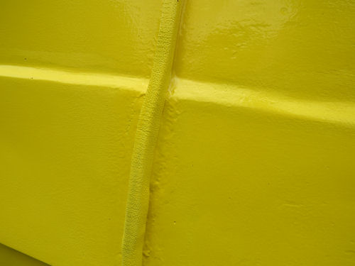 thickened area in the seam on a fiberglass trailer