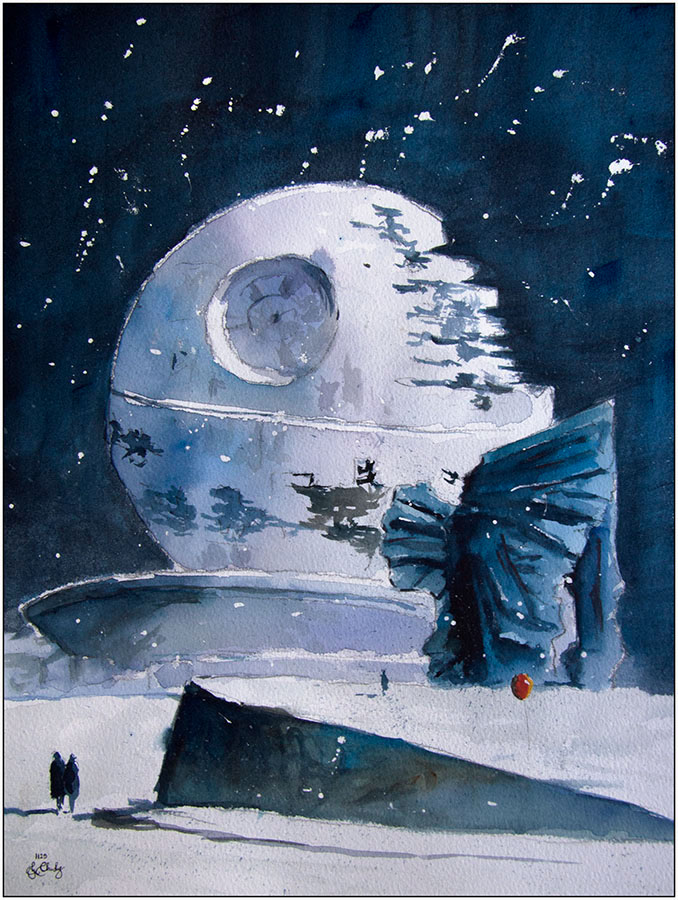 01-A-Death-Star-in-Katowice-Grzegorz-Chudy-Paintings-of-Star-Wars-worlds-in-Watercolors-www-designstack-co