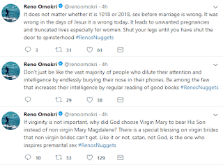 There's a special blessing on virgin brides - Reno Omokri