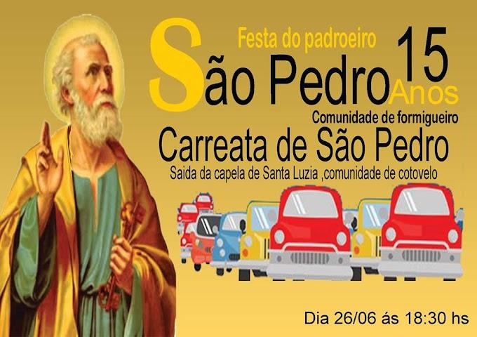 Carreata abre festa do padroeiro São Pedro na comunidade de formigueiro , neste segunda-feira.