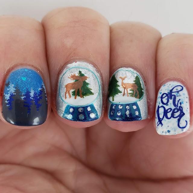 snow globe, nail art, clear jelly stamper, lina nail art supplies, stamping nail art,