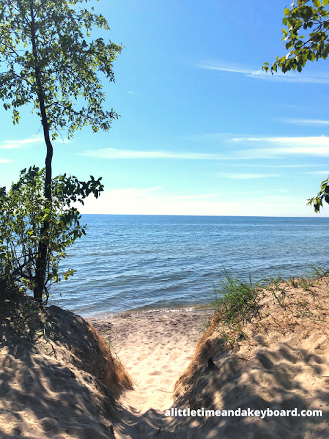 Veering from the main trail to enjoy a spectacular view of Lake Michigan.