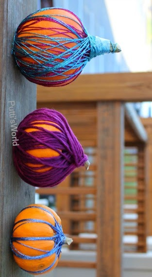 Yarn Wrapped Pumpkins - No-carve Decorating Idea Kids