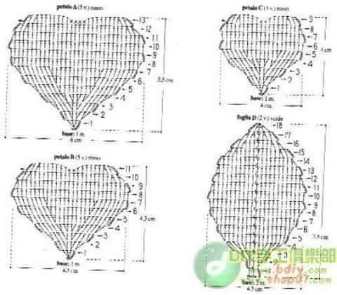 Ergahandmade Big Crochet Roses Diagrams