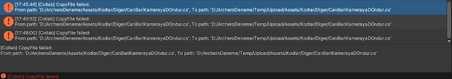 Unity Collab CopyFile failed Hatası Çözümü