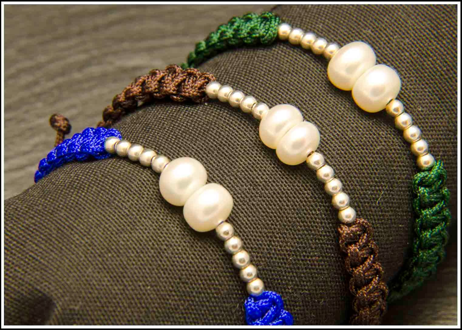 Pulseras de perlas naturales y plata 925 montadas en nylon con terminales de plata