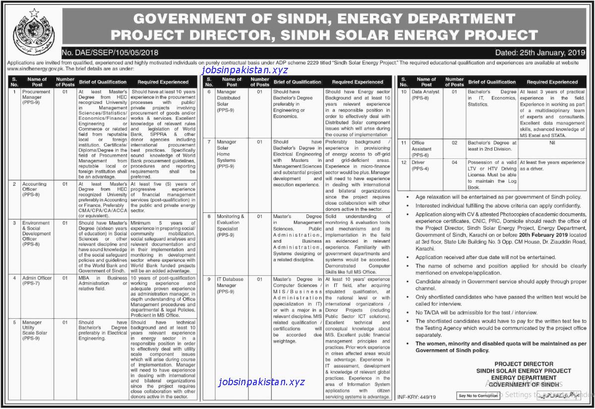 Advertisement for Energy Department Jobs
