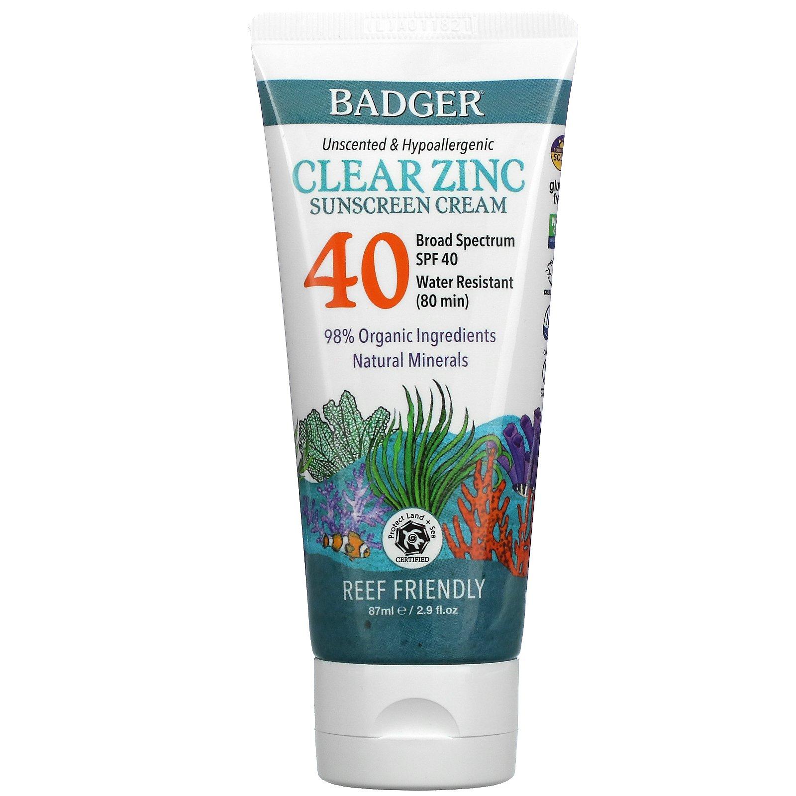 Badger Company, Clear Zinc Sunscreen Cream, SPF40, Unscented, 2.9 fl oz (87 ml)