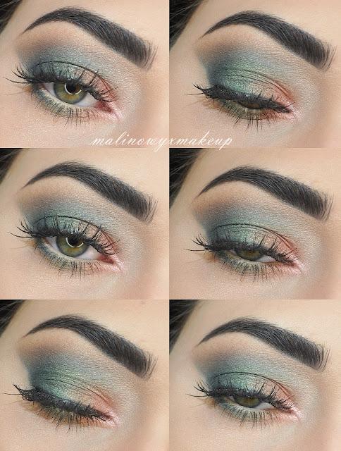 zielony makijaż, brzoskwiniowy makijaż, zieleń, makeup, brzoskwiniowy, różowy,