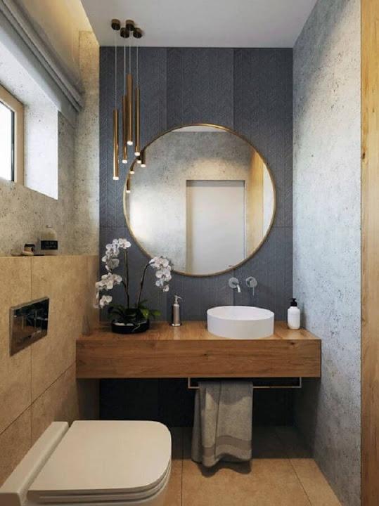 Decoration with round mirror for modern bathroom