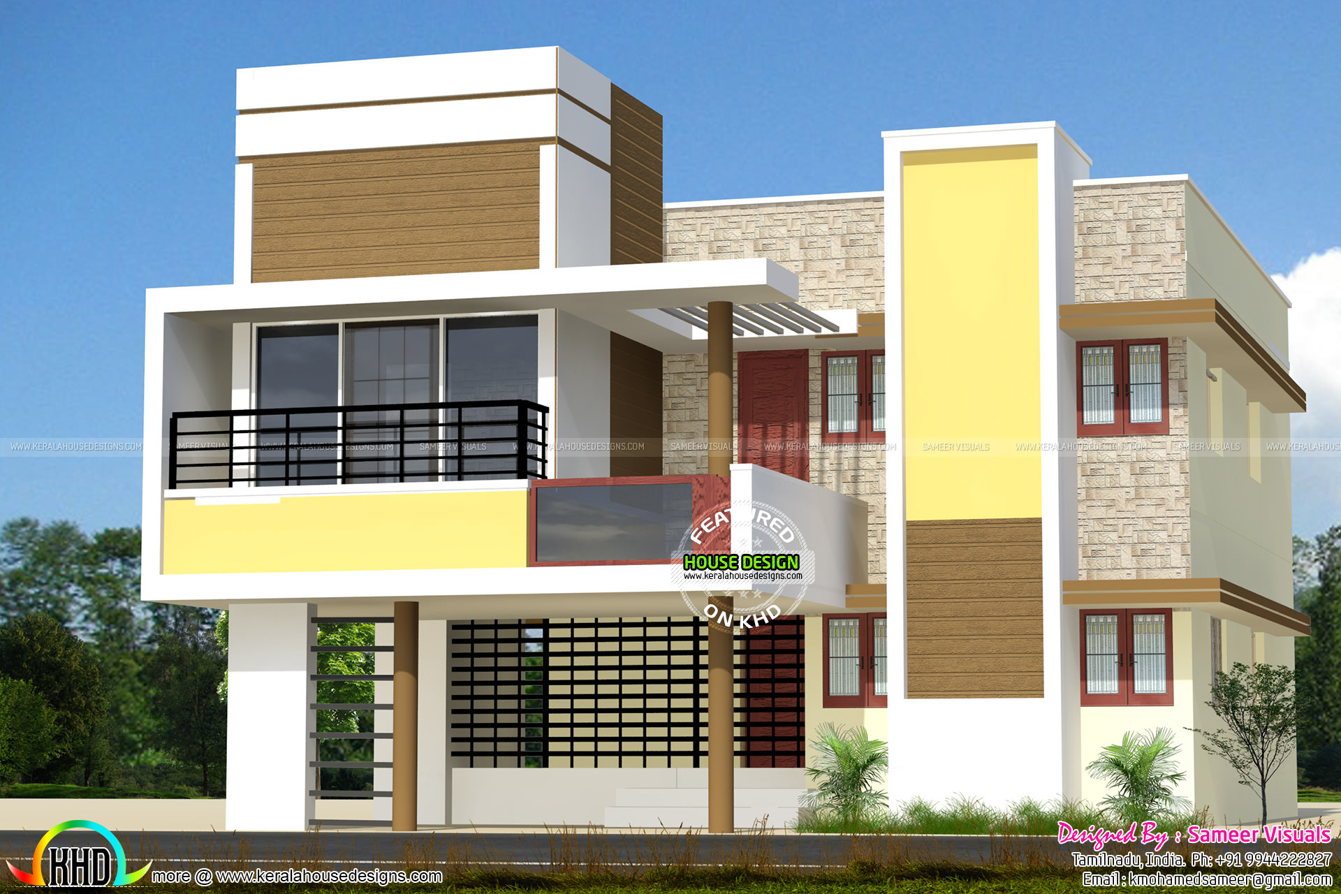 Modern tamilnadu house in 2400 sq ft kerala home design for Tamilnadu home design photos