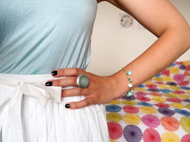 Cinderella Disneybound outfit jewellery details of chunky blue stone ring, and delicate blue bead bracelet