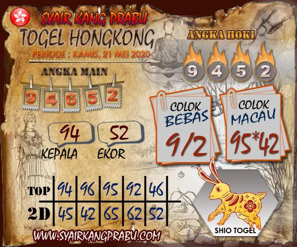 Prediksi HK Kamis 21 Mei 2020 - Syair Kang Prabu