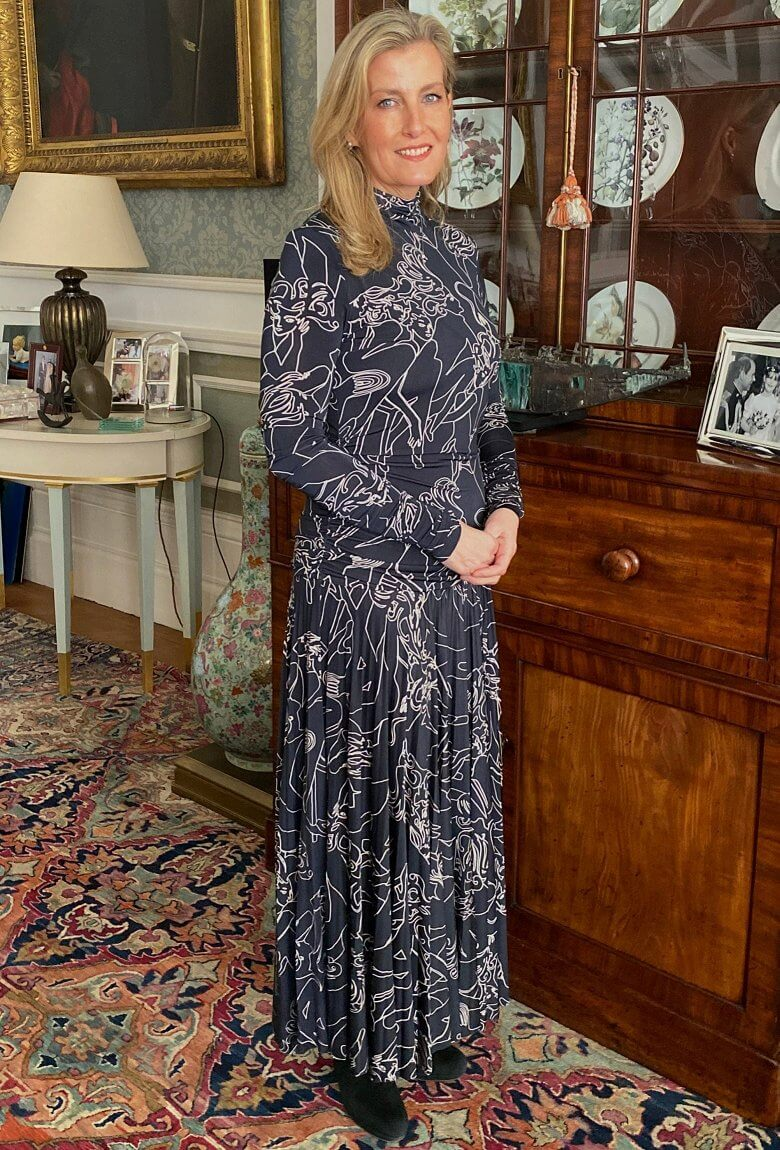 Queen Elizabeth II Prize for Design 2021. The Countess of Wessex wore Victoria Beckham Pleated printed stretch-crepe turtleneck maxi dress