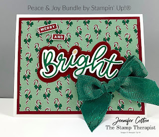 This card uses Stampin' Up!'s Peace & Joy Bundle.  I also used the Adhesive Sheets, Wonderful Gems, Wonder of the Season Ribbon Combo,  and the Tis the Season designer paper.  #StampTherapist #StampinUp