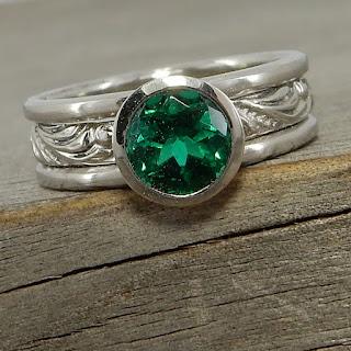 emerald stacking rings