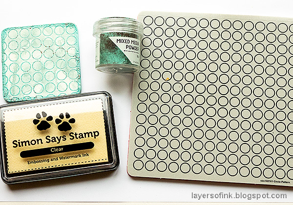 Layers of ink - Mini Vintage Dartboard Tutorial by Anna-Karin Evaldsson. Stamp with Simon Says Stamp Circle Pattern Background stamp.