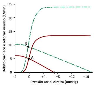 USP 2021: A figura mostra o retorno venoso e débito cardíaco em função da pressão atrial direita em uma condição controle (curvas em vermelho).