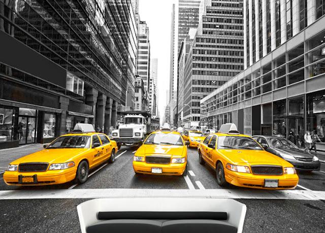 Tapet New York gula taxi bilar svartvit fondtapet 3d fototapet manhattan