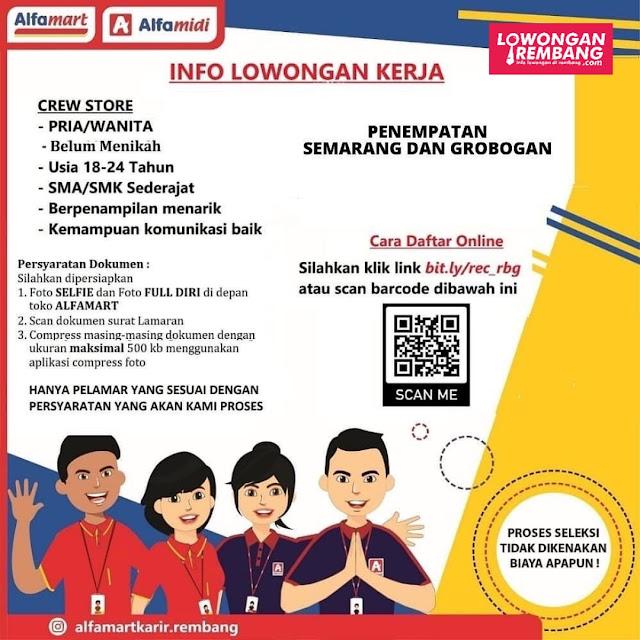 Lowongan Kerja Crew Store Alfamart Rembang Penempatan Semarang dan Grobogan