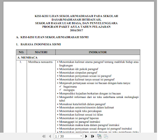 Download Kisi-Kisi Ujian Nasional ( UN) 2017 SD