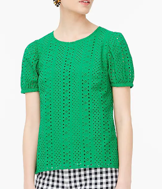 J Crew Eyelet Puff Sleeve Top