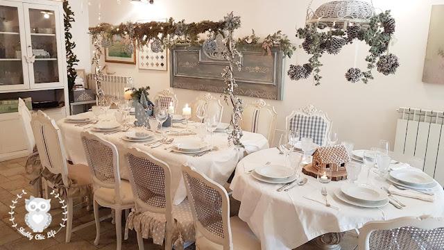tavola, natale, shabby chic, decorazione