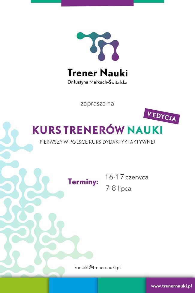 V edycja Kursu Trenerów Nauk - plakat reklamowy