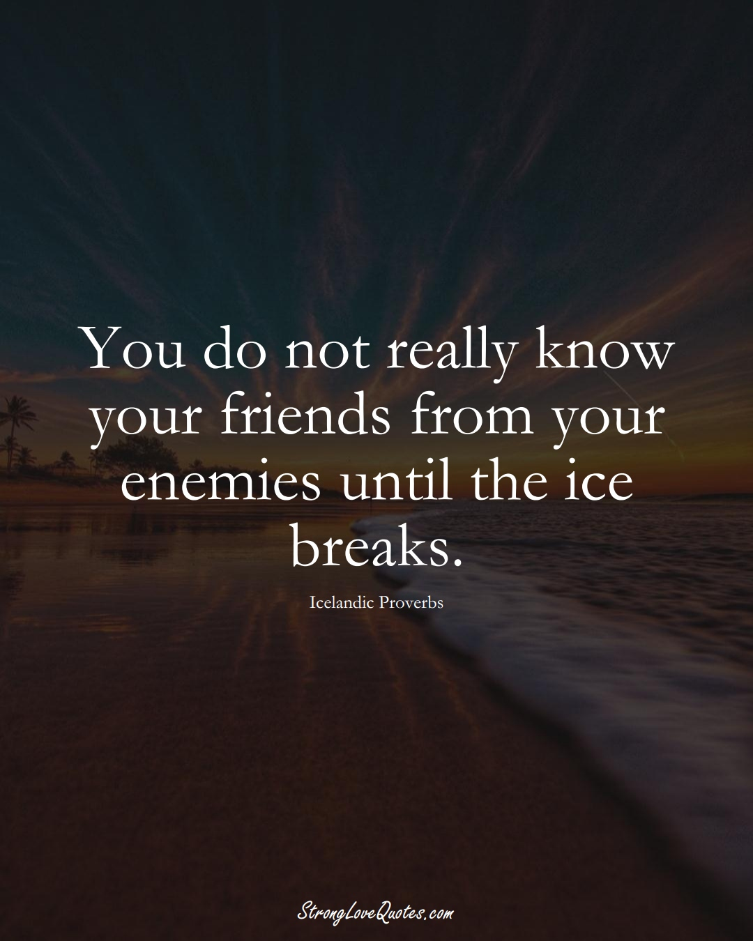 You do not really know your friends from your enemies until the ice breaks. (Icelandic Sayings);  #EuropeanSayings