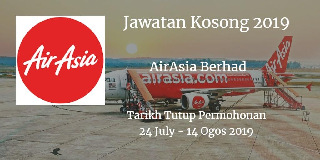 Jawatan Kosong AirAsia Berhad 24 Julai - 14 Ogos 2019