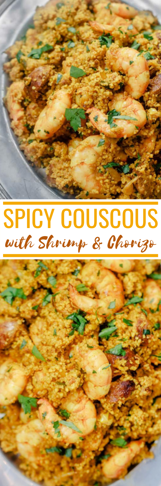 Spicy Couscous with Shrimp and Chorizo #seafood #shrimp #dinner #sausage #lunch