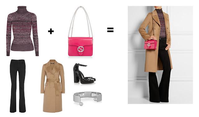 Сочетание сливовой водолазки и розовой сумки