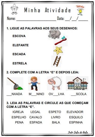 ATIVIDADE DE ALFABETIZAÇÃO E LETRAMENTO LETRA E