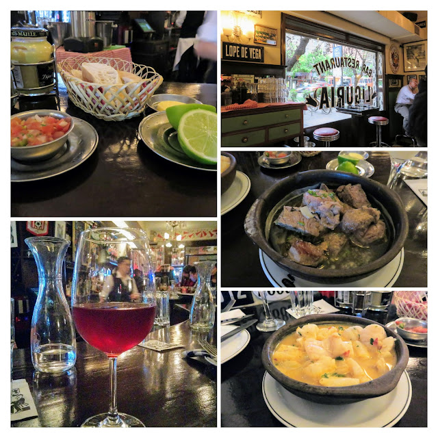 Collage of food and wine at Cafe Liguria in Santiago Chile