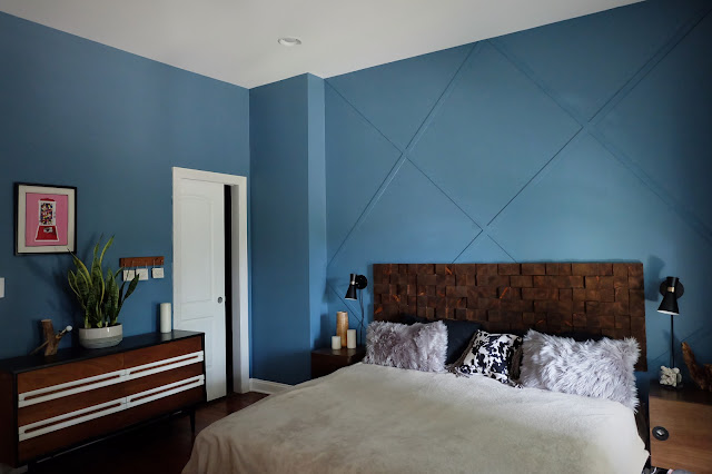 master bedroom redo renovation pocket door repainted blue