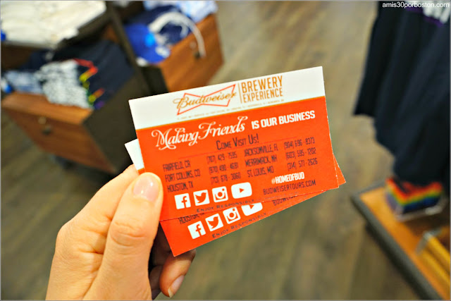 Ticket del Tour a la Fábrica de la Cerveza Budweiser en New Hampshire