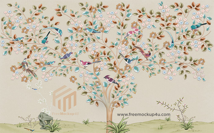 Chinese Style Painting Flower And Bird TV Background Wall 3D Models PSD