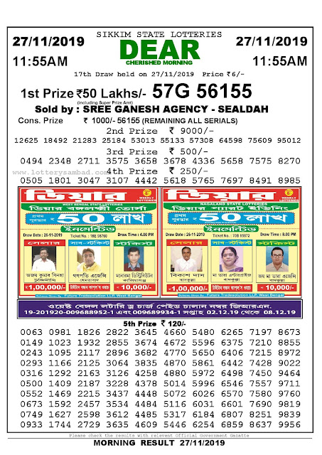 Lottery Sambad 27-11-2019 Sikkim State Lottery Result 11.55 AM-sambadlottery.org