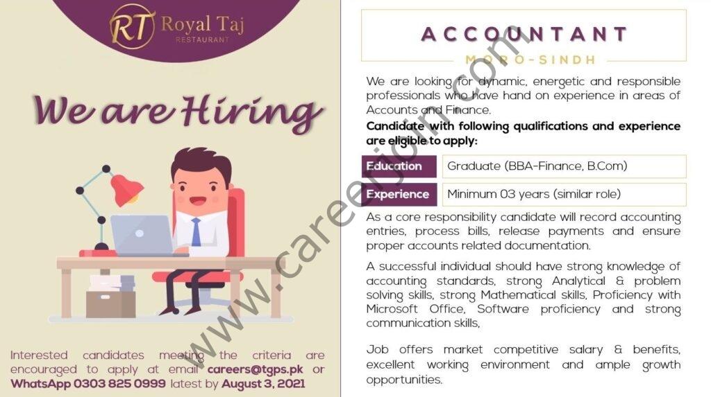careers@tgps.pk - Royal Taj Restaurant Jobs 2021 in Pakistan