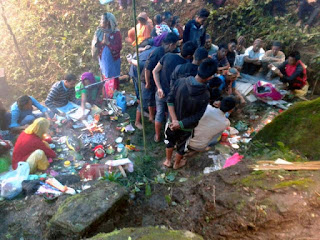 Puja in Saat Kanya Devi Mndir Reshep forest busty