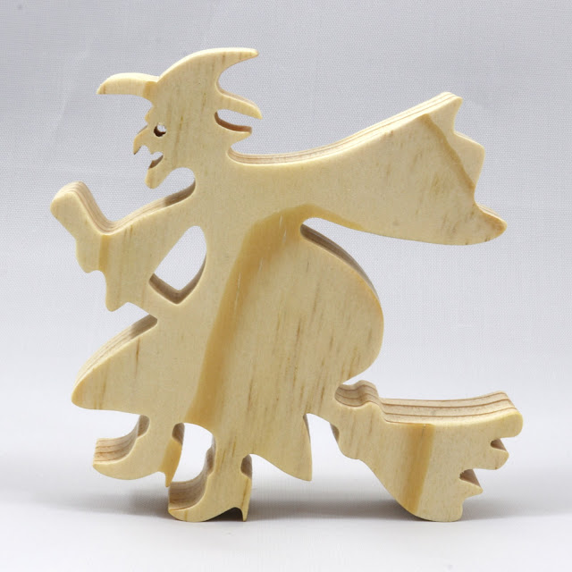 Handmade Wood Toy Halloween Witch On A Broom Cutout