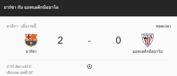 แทงบอล ไฮไลท์ เหตุการณ์การแข่งขันระหว่าง บาร์เซโลน่า vs แอตฯ บิลเบา