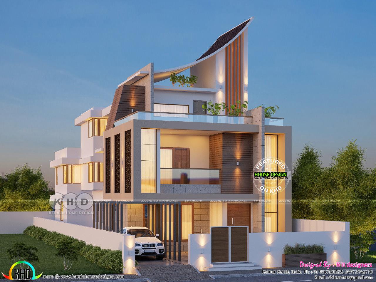 Luxurious ultra modern 5 bedroom house plan
