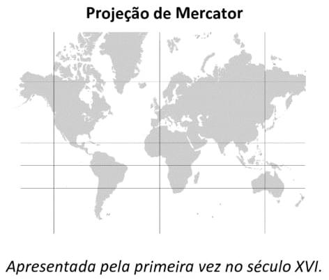 FUVEST 2021: Sobre as projeções cartográficas apresentadas, suas formas, é correto afirmar