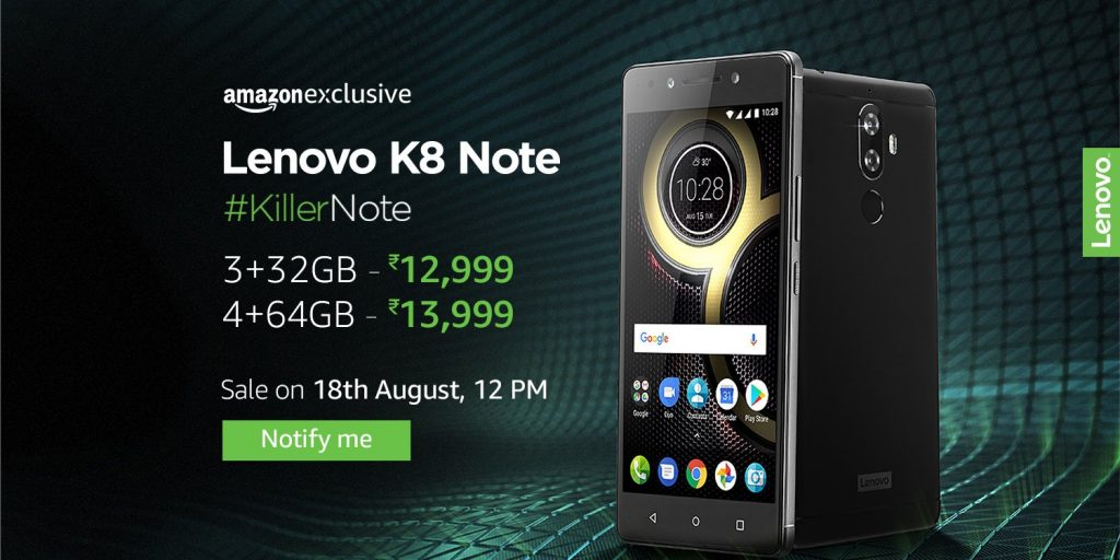 Lenovo K8 Note Amazon