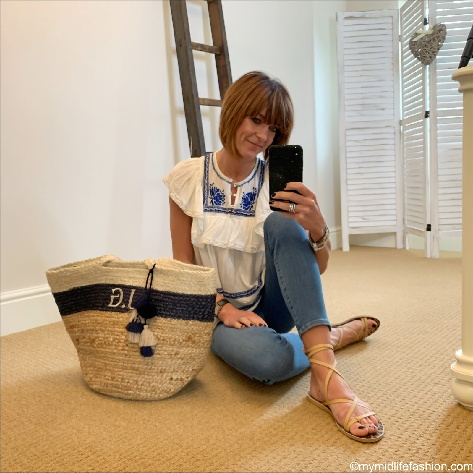 my midlife fashion, initially London Canonbury bag, Ancient Greek morfi beige leather sandals, j crew toothpick 8 inch jeans, sea embroidered top