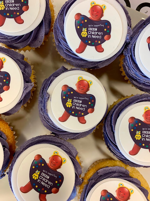 cupcakes with toppers featuring Bassetts Vitamins jelly character with Pudsey Bear ears on
