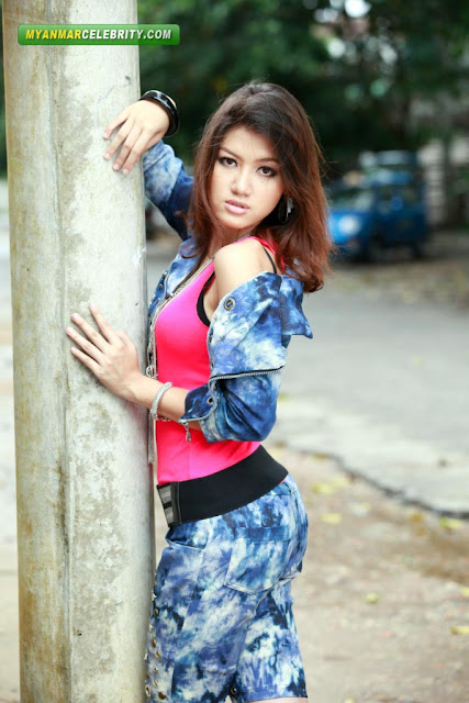 Hot Model Chan Me Me Ko in Smoky Blue Jeans