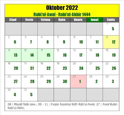 kalender islam hijriyah oktober 2022 masehi - kanalmu