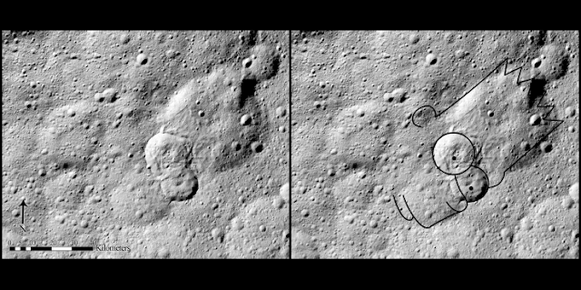 Type II features are the most common of Ceres' landslides and look similar to deposits left by avalanches on Earth. This one also looks similar to TV's Bart Simpson. Credit: NASA/JPL-Caltech/UCLA/MPS/DLR/IDA, taken by Dawn Framing Camera